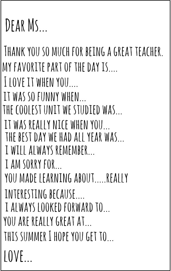 Teacher Thank You Letter