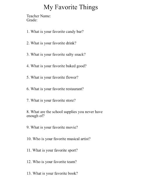Teacher questionnaire favorite things